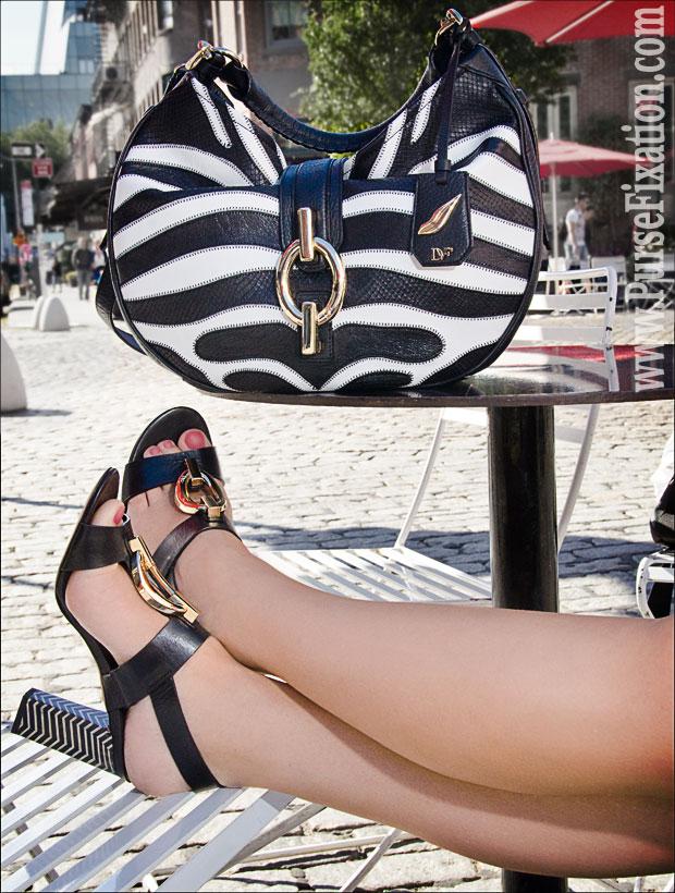 Diane von Furstenberg Sutra bag and Pame Black Vacchetta heels at the Gansevoort Plaza, NYC.