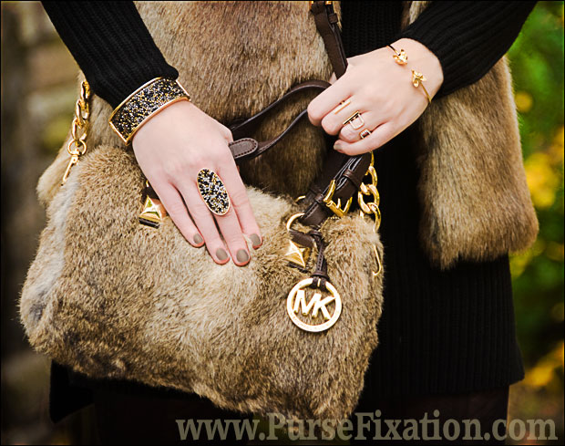 Michael Kors Flurry Rabit Fur Satchel