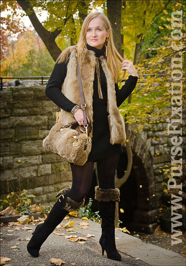 Michael Kors Rabbit Fur Sathel, Guess Bolim Boots and Zara Fur Vest