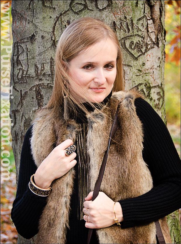 Renfashionista in Zara Fur Vest and Aldo jewelry