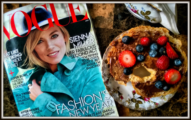Vogue Juanuary 2015 and a croissant with peanut butter and hazelnut cream and fruit for breakfast