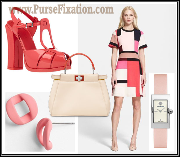Fendi Mini Peekaboo in Petal Pink coordinated outfit