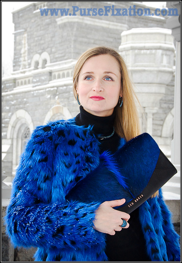 Michael Kors Faux Fur Cheetah -Print Coat in Blue and Ted Baker Moti Envelope Clutch in Blue, coordinated outfit in Central Park Winter 2015