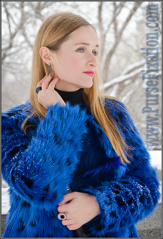 Winter in Central Park. Michael Kors Faux Fur Blue Coat