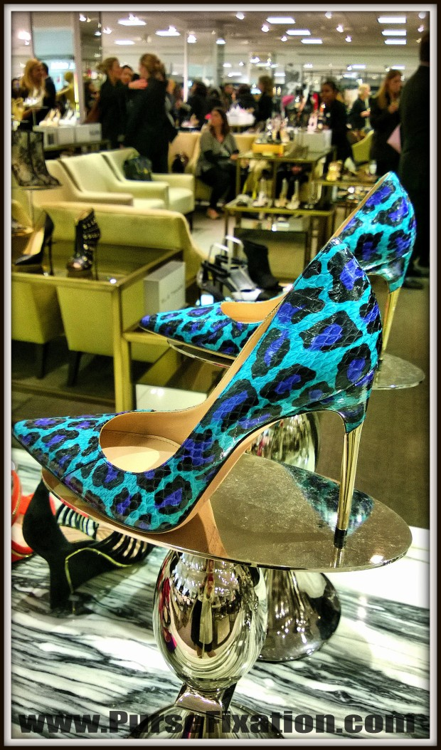 Blue snakeskin heels at Lord and Taylor