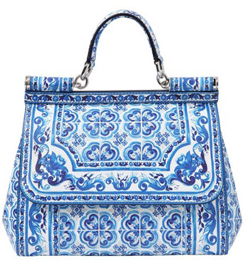 Dolce and Gabbana Blue Majolica Print Sicily Bag